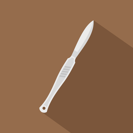 sterilized: Steel scalpel icon, flat style