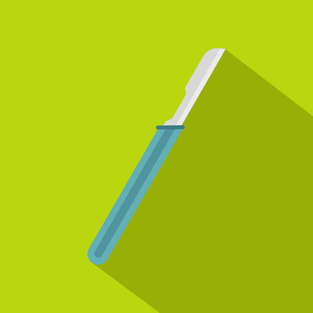 surgeon operating: Scalpel with blue handle icon, flat style