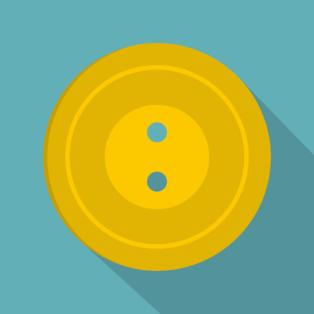seamstress: Yellow sewing button icon, flat style
