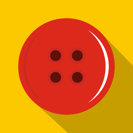 Red sewing button icon, flat style Illustration