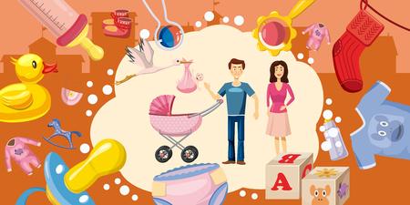 Family horizontal banner goods, cartoon style Illustration