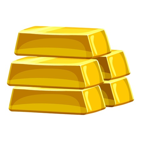 Stack of gold bars icon, cartoon style