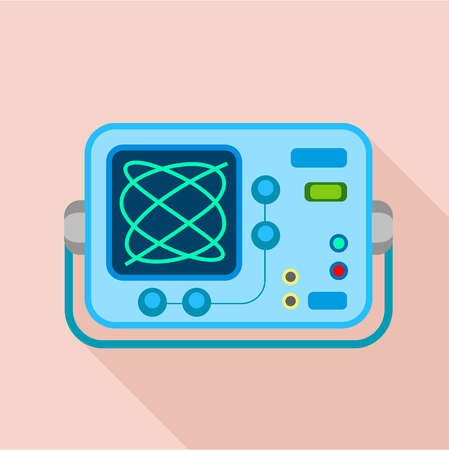 oscilloscope: Oscilloscope icon, flat style