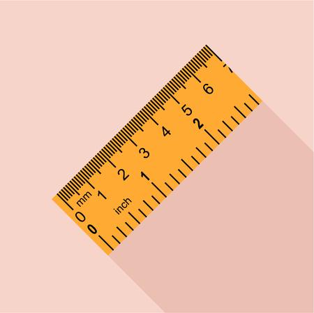 millimeters: Yellow ruler, rectangular shape icon, flat style Illustration