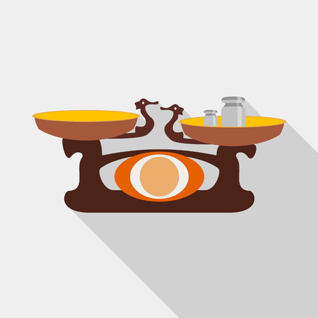Old golden weighing scale balance icon, flat style