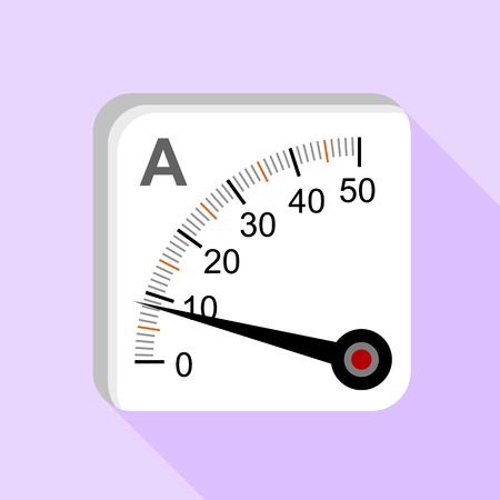 indicate: Moving iron type analog panel ammeter icon