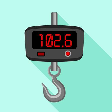 Digital fishhook scales icon, flat style