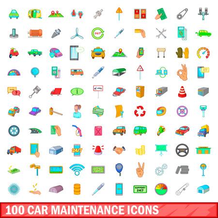 100 car maintanance icons set, cartoon style
