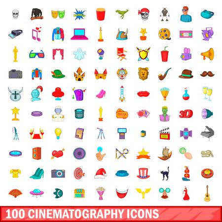 100 cinematography icons set, cartoon style