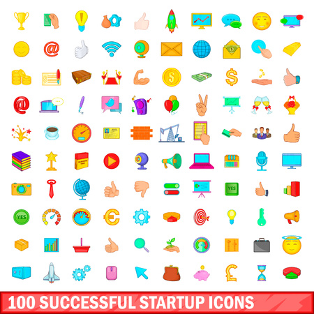 investor: 100 successful startup icons set, cartoon style