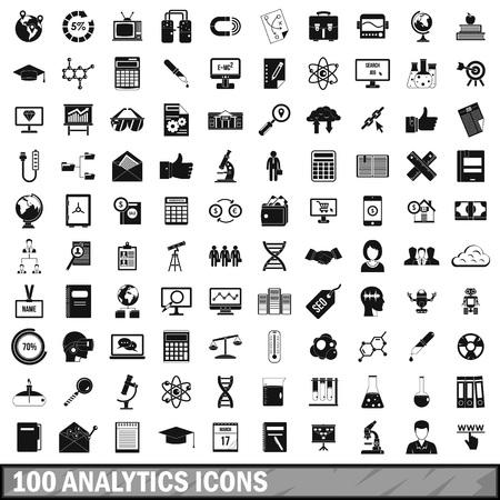 100 개의 분석 아이콘 세트, 간단한 스타일