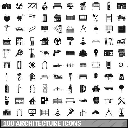 100 icone di architettura impostare, semplice stile