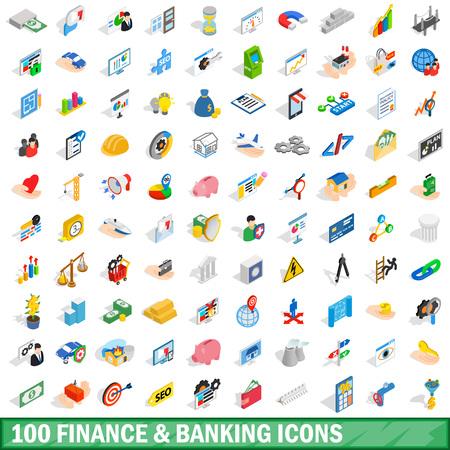 100 の金融、銀行関連のアイコン セット、アイソメ図スタイル
