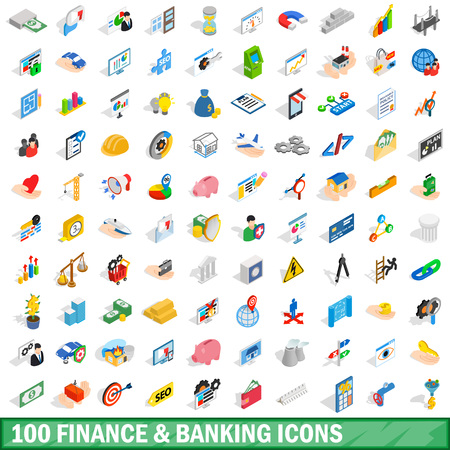 auctioning: 100 finance and banking icons set, isometric style