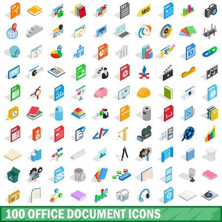 Conjunto de 100 iconos de documento de oficina, estilo isométrico 3d