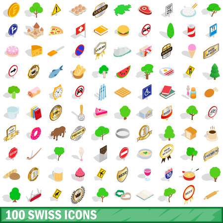 100 swiss icons set in isometric 3d style for any design vector illustration Illustration