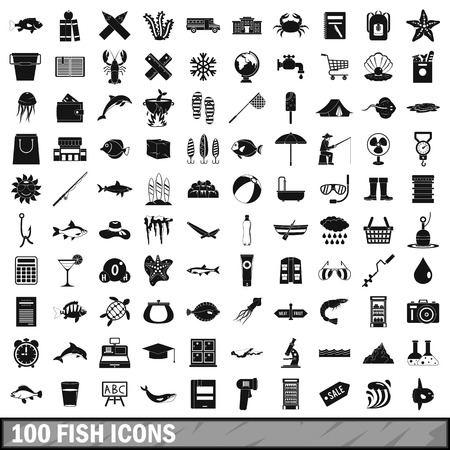 100 fish icons set in simple style for any design vector illustration