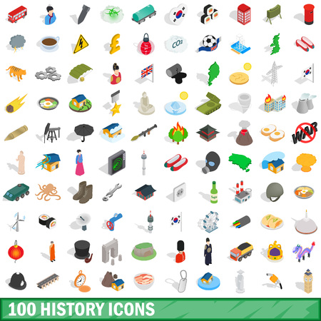 100 history icons set in isometric 3d style for any design vector illustration Illustration