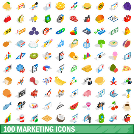 responsive design: 100 marketing icons set in isometric 3d style for any design vector illustration