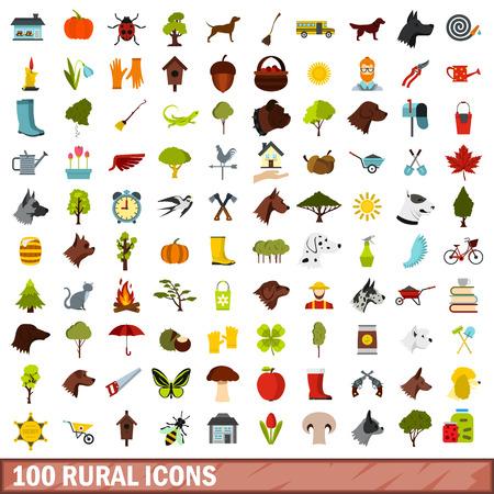 100 iconos rurales en estilo plano para cualquier ilustración de diseño vectorial Ilustración de vector