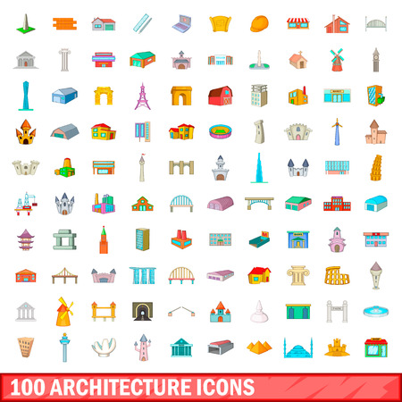 100 architecture icons set in cartoon style for any design vector illustration