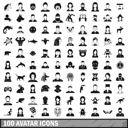 100 avatar icons set in simple style for any design vector illustration