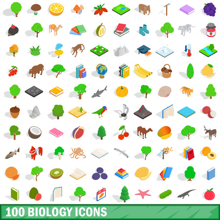 laboratory equipment: 100 biology icons set in isometric 3d style for any design vector illustration Illustration