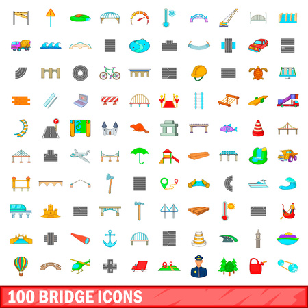magnyfying glass: 100 bridge icons set in cartoon style for any design vector illustration