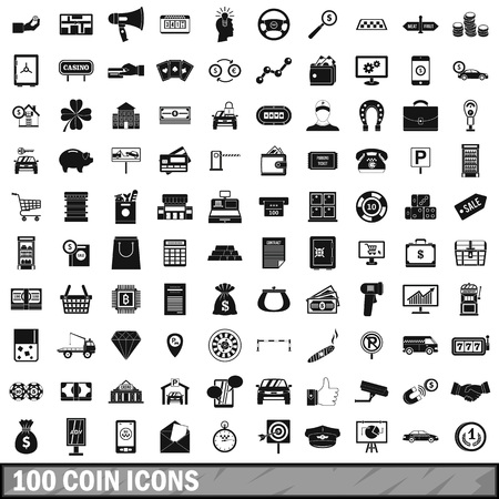 bar magnet: 100 coin icons set in simple style for any design vector illustration