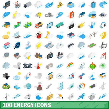 100 energy icons set in isometric 3d style for any design vector illustration
