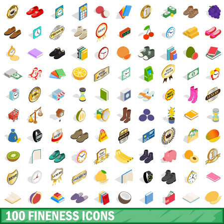 a white police motorcycle: 100 fineness icons set in isometric 3d style for any design vector illustration