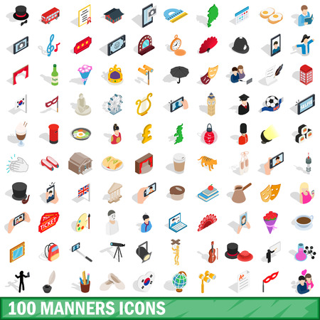 100 manners icons set in isometric 3d style for any design vector illustration