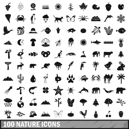 cascade mountains: 100 nature icons set in simple style for any design vector illustration