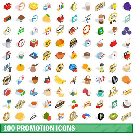 bank cart: 100 promotion icons set, isometric 3d style