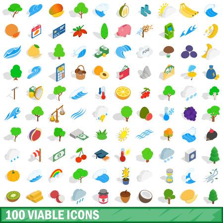 100 viable icons set, isometric 3d style Иллюстрация
