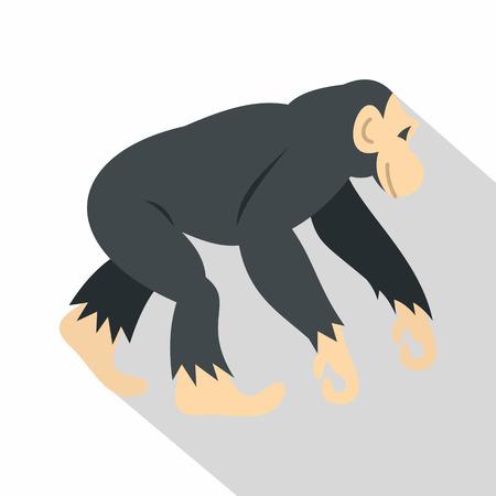 genus: Chimpanzee, icon, flat style
