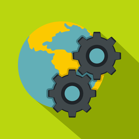 Earth and gears icon, flat style Illustration