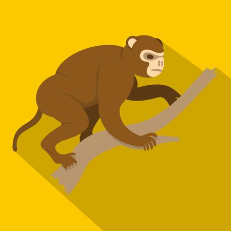 Monkey sitting on a branch icon, flat style