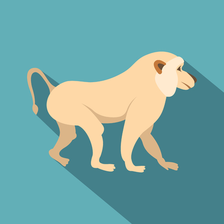 Japanese macaque icon, flat style