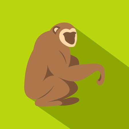 genus: Sitting monkey icon, flat style Illustration