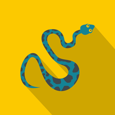Blue snake with spots icon, flat style