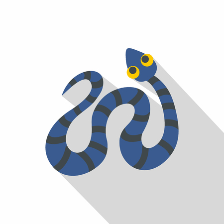 Blue snake with black stripes icon, flat style Illustration
