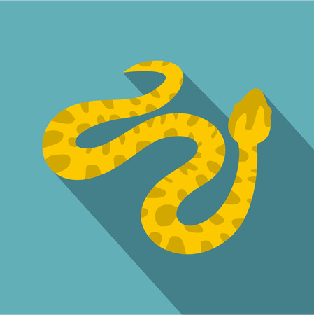 Yellow spotted snake icon, flat style