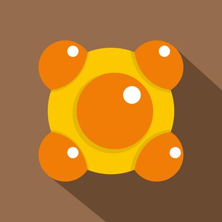 Yellow and orange molecules icon, flat style Illustration