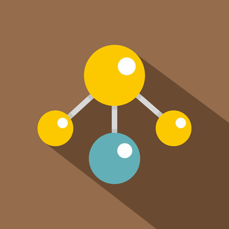 Yelllow and blue atomic structure icon, flat style Illustration