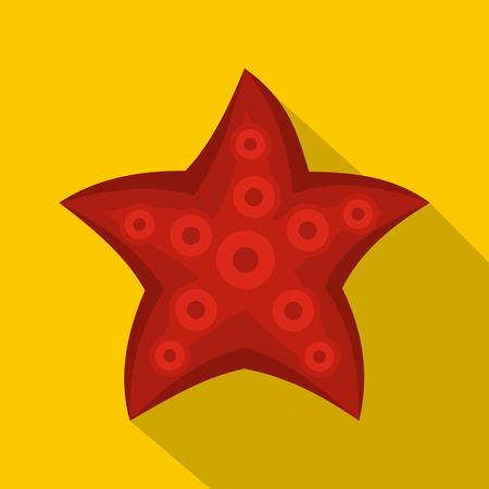 noix saint jacques: icône rouge étoiles de mer, le style plat