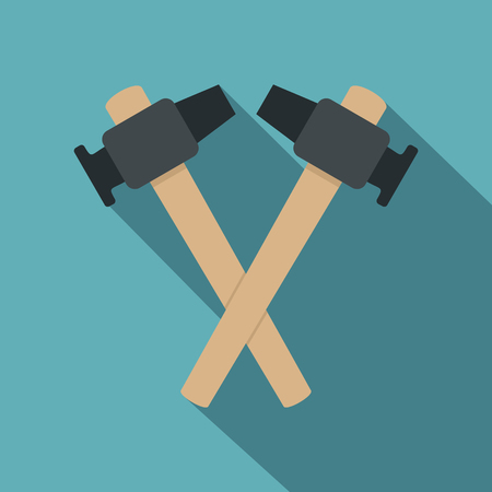 Crossed blacksmith hammer icon, flat style