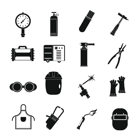 Welding icons set, simple style Иллюстрация