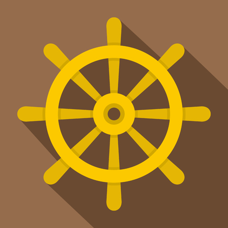 Wooden ship wheel icon, flat style