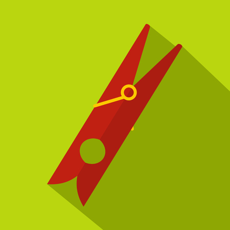 Red clothes pin icon, flat style